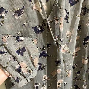 Express Tops - Express | Gray Floral Sheer Blouse